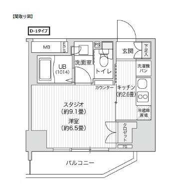 レジディア笹塚Ⅱ1410号室