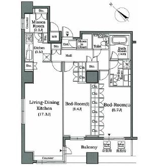 ホライズンプレイス赤坂1802号室