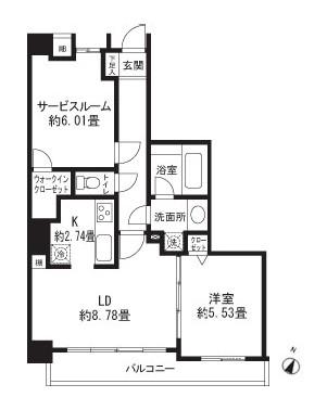 レジディア三軒茶屋Ⅱ404号室