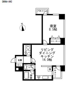 レジディアタワー麻布十番1504号室