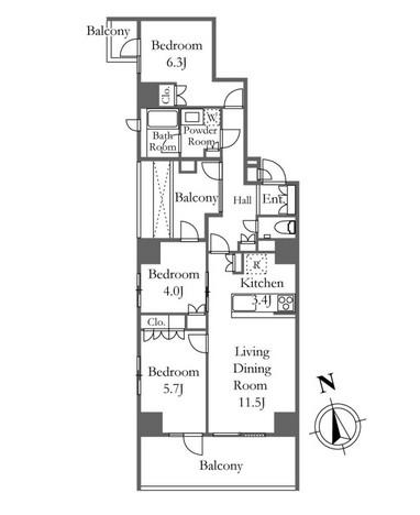 プライムアーバン新宿夏目坂タワーレジデンス 402号室
