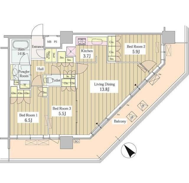 ユニゾンタワー3006号室