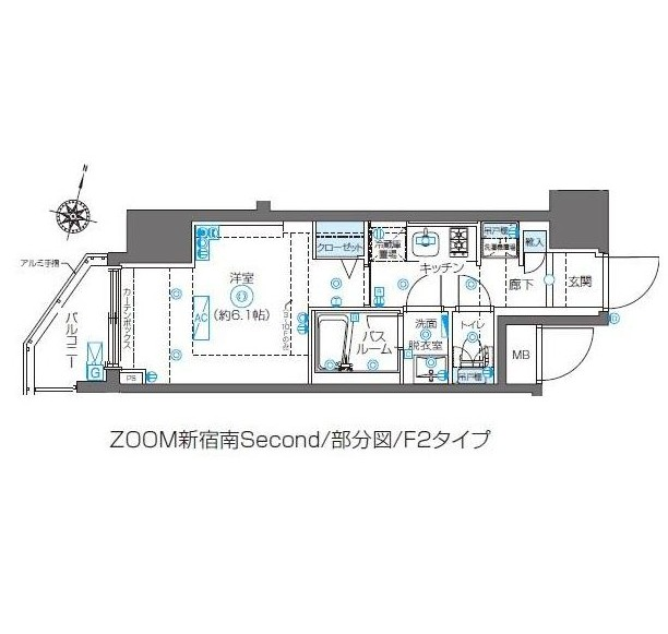 ZOOM新宿南Second204号室の図面
