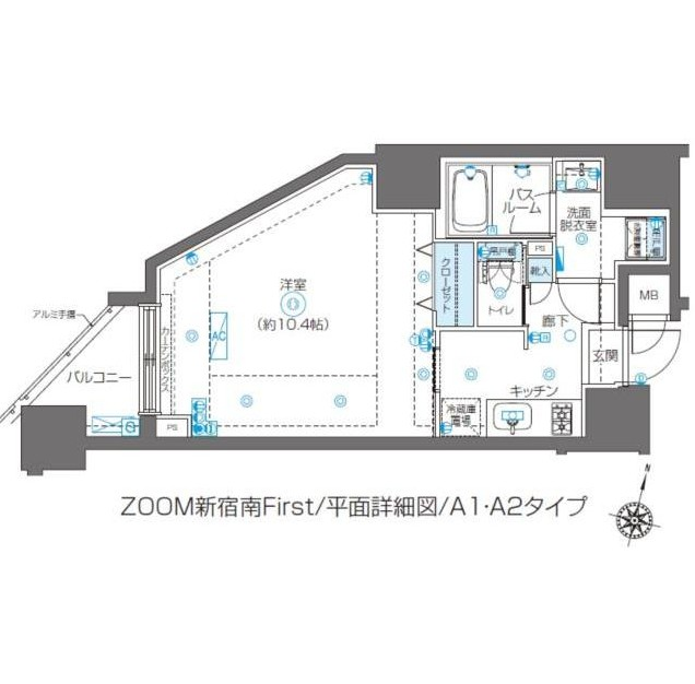 ZOOM新宿南First1001号室の図面